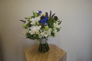 Blue and white blue heron theme wedding bouquet, love the natural ribbon treatment and all the texture, one of our lovely brides flowers