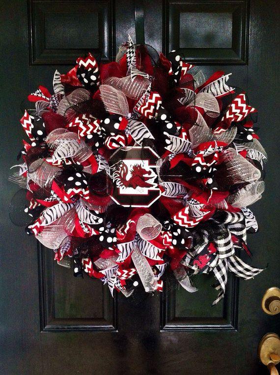 Mesh Ribbon University South Carolina Collegiate Football College Baseball Team Garnet Black Gamecocks Team Wreath