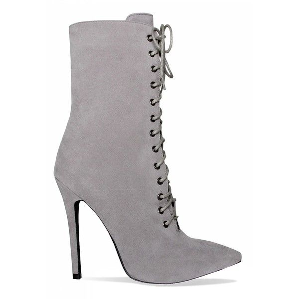 Aaliyah Grey Suede Lace Up Pointed Ankle Boots : Simmi Shoes ($43) ❤ liked on Polyvore featuring shoes, boots, ankle booties, suede lace-up booties, grey suede booties, lace up boots, gray booties and suede ankle booties