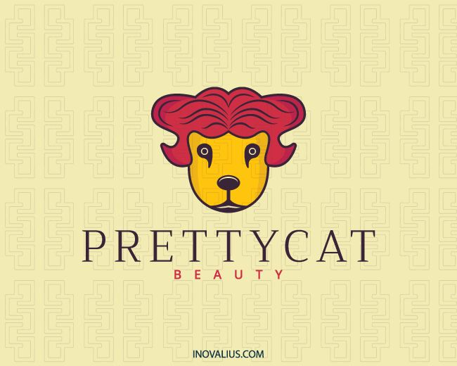 Pretty Cat is a stylized logo in the shape of a head of a wild cat with the red and yellow colors.(beauty, cat, pretty, charm, pet store, abstract, beauty salon, character, salon, hair, logo design for sale, logo design, logo, logotipo).