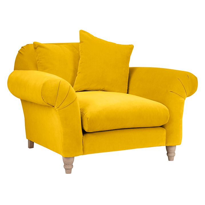 Yellow armchair, yellow velvet armchair Loaf Doodler Snuggler Armchair: Roomy bumblebee clever velvet upholstered armchair with pleated round arms and a plump cushion