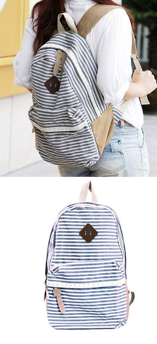 Retro Striped Lace Canvas School Backpacks for big sale! #lace #backpack #Bag #college #canvas #retro #stripe