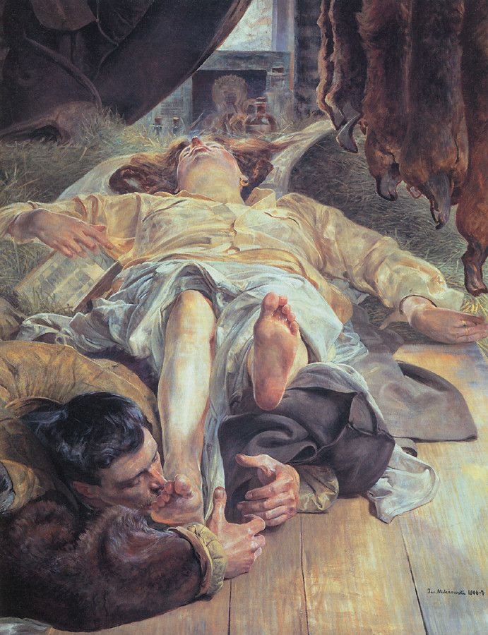 """"""" Lovers """" """" Death of Ellenai """"  by Jacek Malczewski  Thank you to Clavuline for posting the ecstasy of this passion. Oh My G..."""