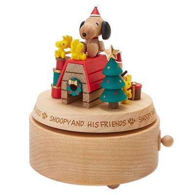 スヌーピー 木製クリスマスオルゴール (ヒズフレンズ)