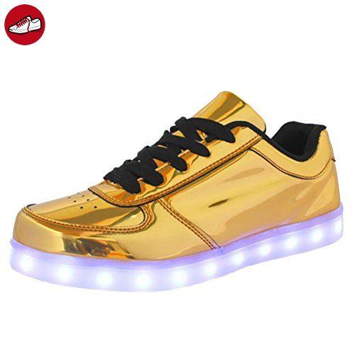 (Present:kleines Handtuch)Gold EU 46, Turnschuhe Sneaker Damen/Herren LED mode (*Partner-Link)