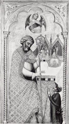 1a metà XIV sec, Bologna. San Pietro benedicente e donatore in  veste di pellegrino da (Fondazione Zeri) / 1st half of 14th century, Bologna. Blessing Saint Peter and donor,
