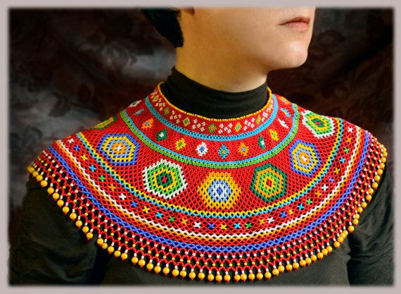 Beaded NECKLACE Ukrainian Folk Bead Necklace by NakaHandMadeShop