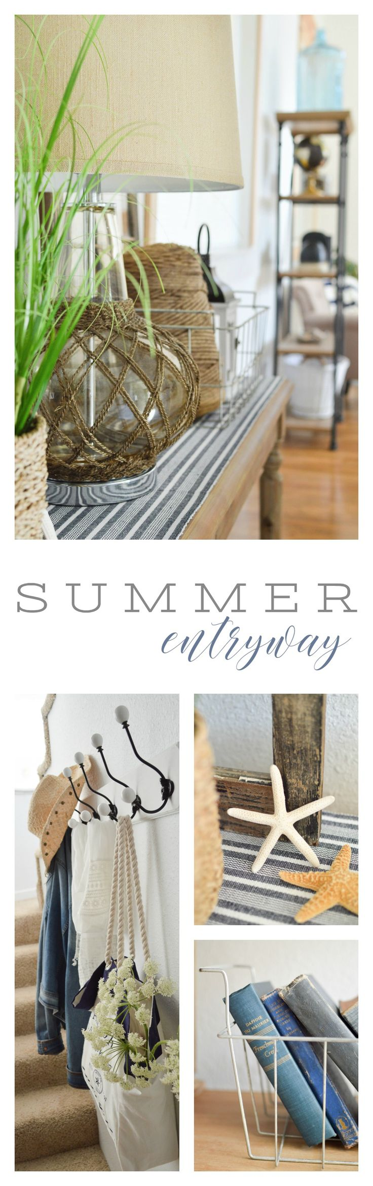 Summer Entryway Home Decorating Ideas. Our entry is full of affordable HomeGoods touches, like the navy grain sack style table runner and matching black and white lanterns (they even have a timer function!). This relaxed, coastal cottage style with nautical accents and vintage thrifted finds blends easily with my new decor purchases for a well rounded space. Entry tour with sources and ideas at The Little Cottage | foxhollowcottage.com