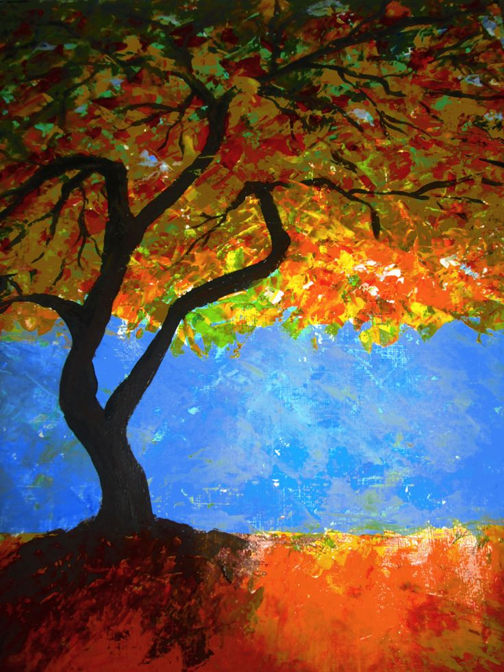 1000 images about fall tree watercolor paintings on for Autumn tree painting
