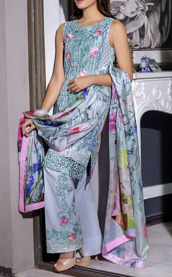 Buy Grey Embroidered Cotton Lawn Dress by Rungrez 2016 Contact: 702-7513523 Email: info@pakrobe.com Skype: PakRobe