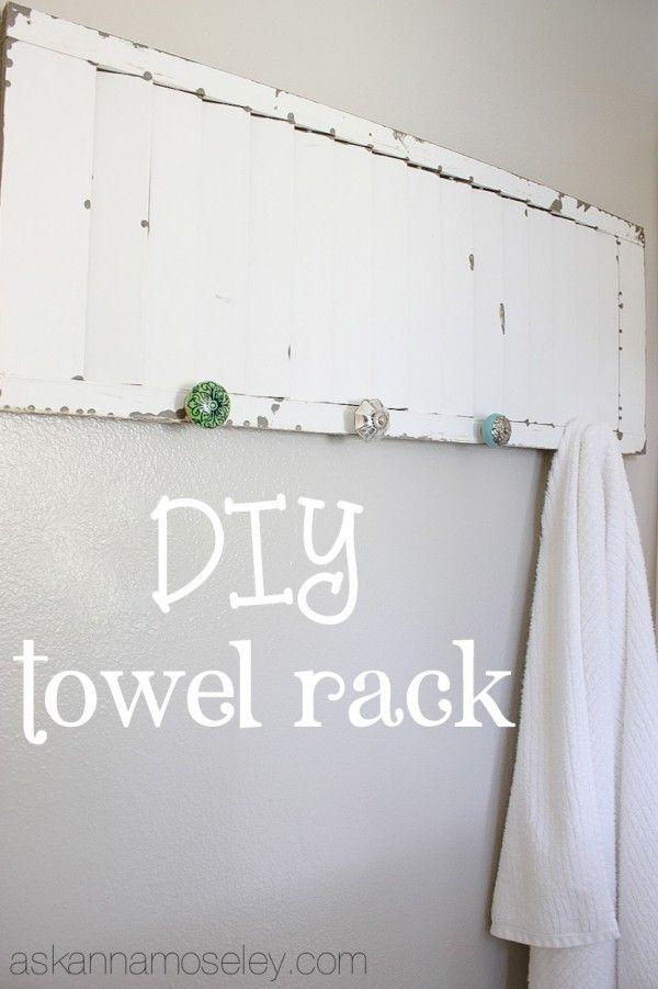 DIY towel rack from an old shutter - Ask Anna #diy #decorate #bathroom