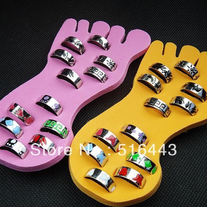A-345 24pcs Wholesale Body Jewelry Fashion Glaze Mens Women Toe Rings Free Shipping