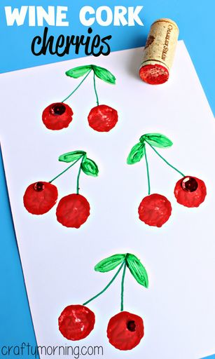 Easy Wine Cork Cherry Craft #Homemade cards #Kidscraft | CraftyMorning.com