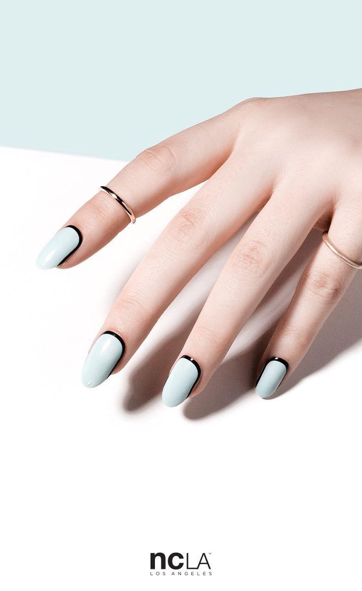 Pastel blue with black edges