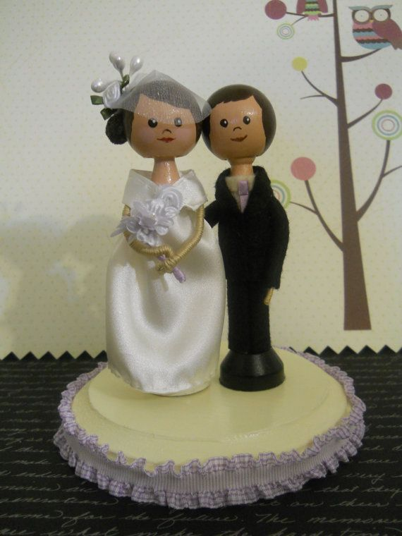 Customize Clothespin dolls Wedding Cake Topper of by normanfiveart, $65.00