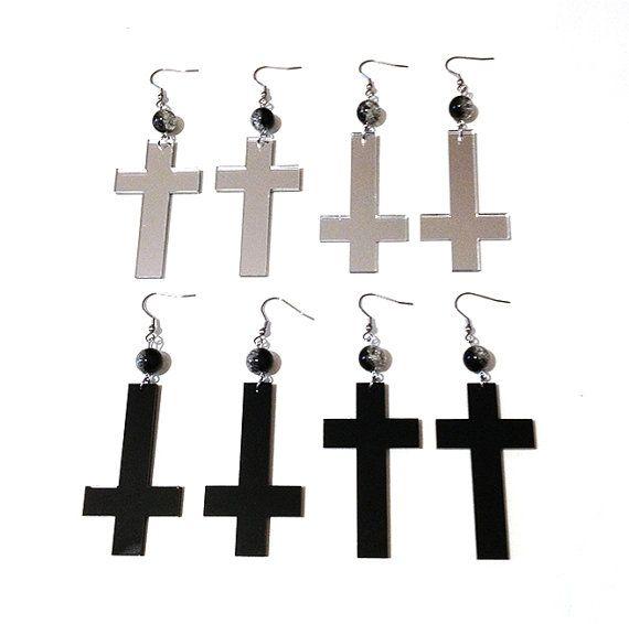 Black Silver Mirror Acrylic Cross Inverted Cross Earrings by Pornoromantic