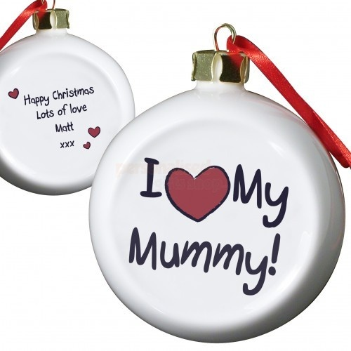 Personalised I love My Mummy Flat Bauble  from Personalised Gifts Shop - ONLY £9.95