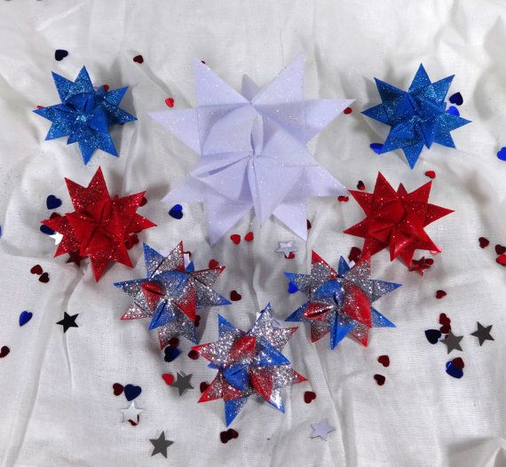 Patriotic Fourth of July Handmade Origami Stars Decoration Pack in Red White and Blue