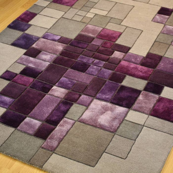 Pixel A Luxury Wool And Viscose Handmade Rug In Purple Grey