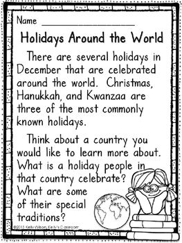 Holidays Around the World (Christmas, Hanukkah, Kwanzaa, research report)In December many teachers like to create lessons and activities for 'Christmas Around the World.'  This little research project would work well with any Christmas Around the World, Hanukkah, Kwanzaa, and other holiday lessons.There are four pages in all, black and white only for easier printing.Please look at the thumbnails to see the complete contents of this file.