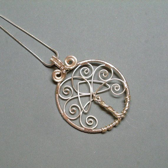 Tree of Life Pendant Necklace With Celtic Trinity Knot, Silver Plated Wire Wrapped Jewelry- Pic Only