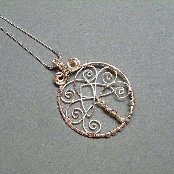 Árbol de la vida colgante, colgante de plata árbol de la vida con el nudo de la Trinidad celta, alambre envuelto árbol de la vida colgante, colgante…
