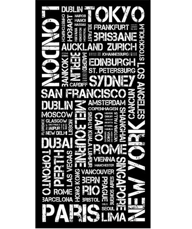 Top 100 Cities - Destination Canvas from Arthouse Central. A Tram Scroll or  Destination Travel Canvas of the Worlds Top 100 Cities