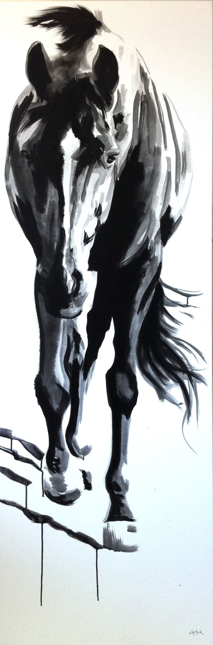 "Horse art Shasta By jennifer mack 72""x24""  India Ink on Canvas SOLD www.jmackfineart.com"