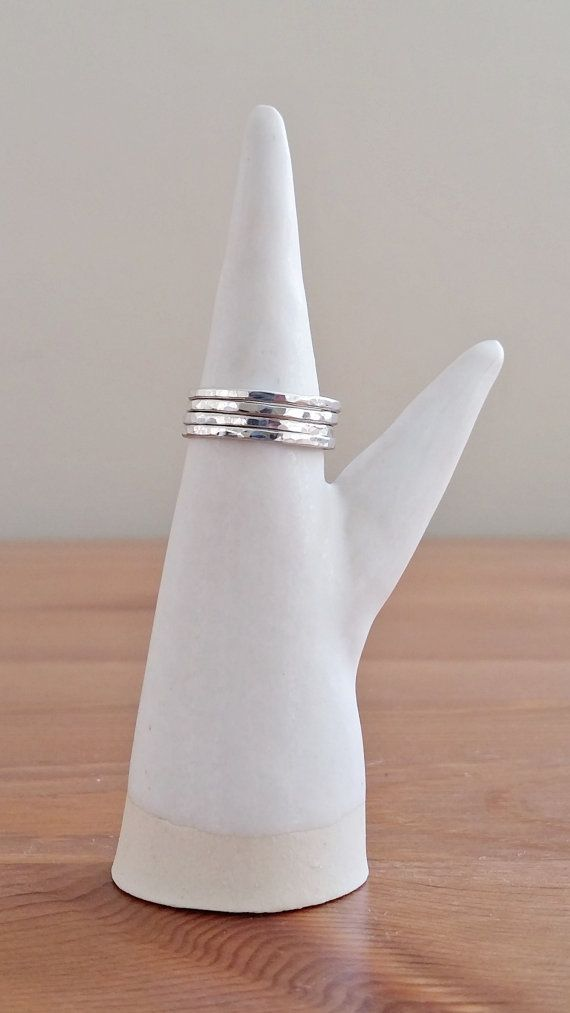 Sterling Silver Simple Skinny Hammered Stacking Rings by ShopNepheliad