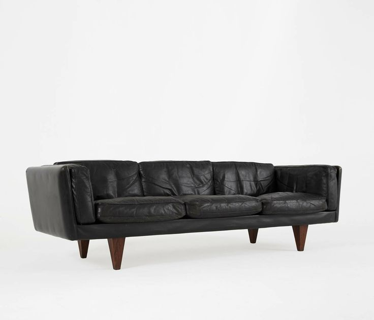 Illum Wikkelso 3 Seater Sofa - Black Leather and Down Filled | From a unique collection of antique and modern sofas at http://www.1stdibs.com/furniture/seating/sofas/