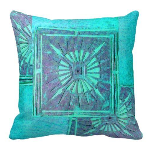 MORNING STAR ,Aqua Blue Turquase,Purple,Violet Throw Pillows WOW