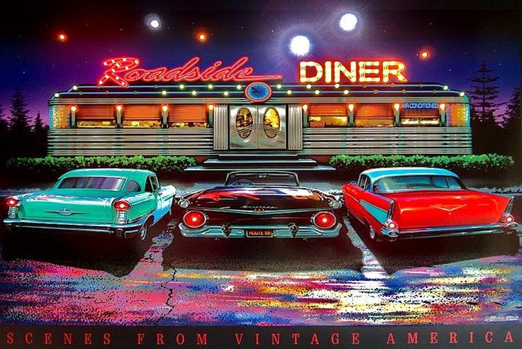 50 S Diner Background Roadside Diner Artwork By