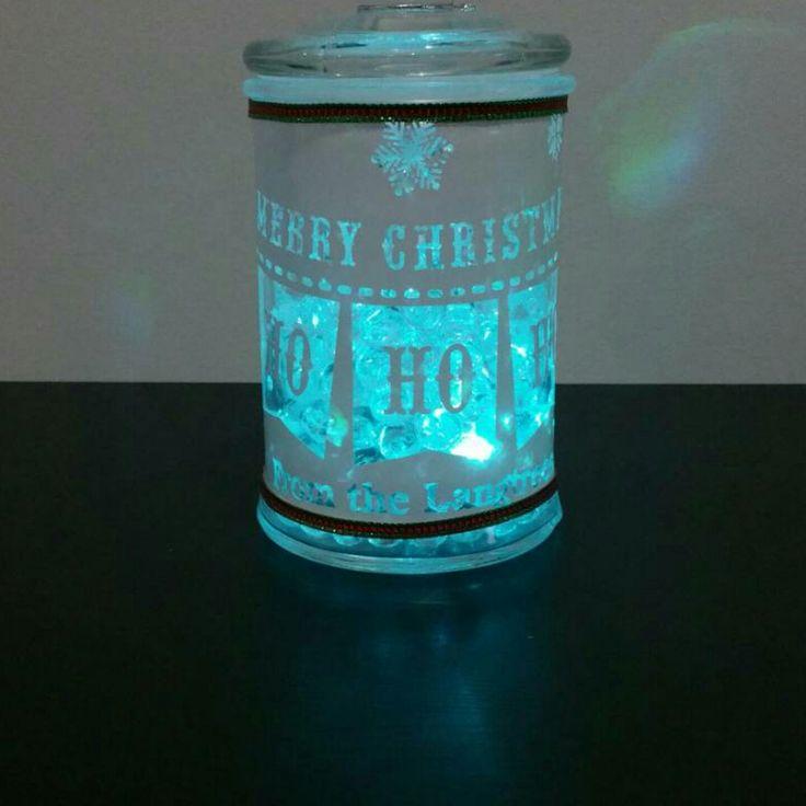 Our christmas jar with aqua crystal balls so pretty