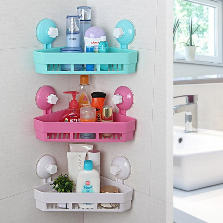 4 Colors Plastic Bathroom Corner Triangle Sucker Storage Racks Wall Mounted Bathroom Shelves Holder Home Organizer