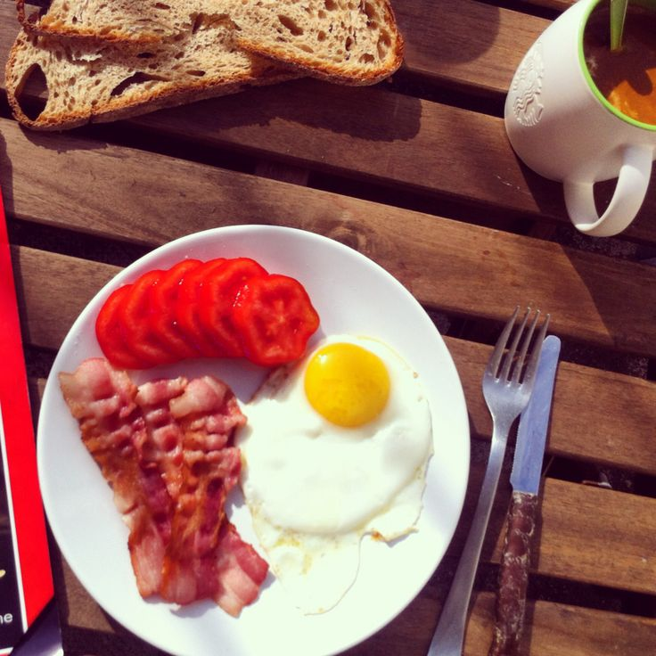 Best way to start the day. Bacon and eggs sunny side up!
