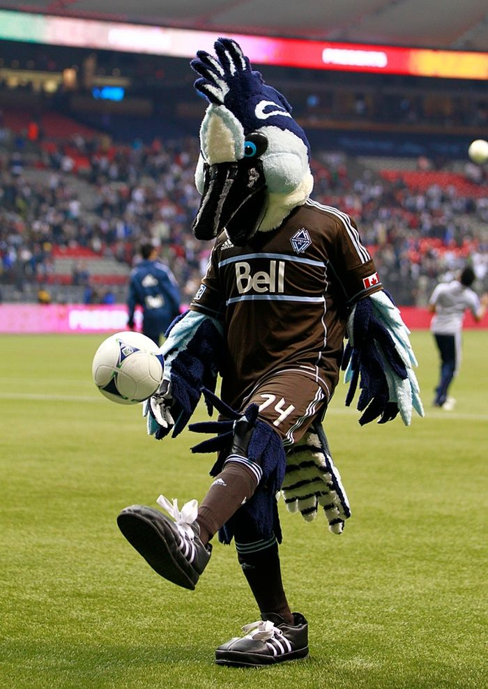 Are all mascots frustrated footballers? Vancouver Whitecaps FC mascot Spike! might be