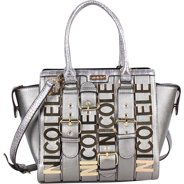 Nicole Lee Hilliard Belt Embellish Tote - Gunmetal - Totes ($61) ❤ liked on Polyvore featuring bags, handbags, tote bags, grey, gray tote, striped tote bag, stripe tote, zip tote bag and initial tote bags