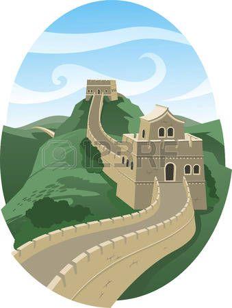 Великая китайская стена иллюстрации пейзаж photo