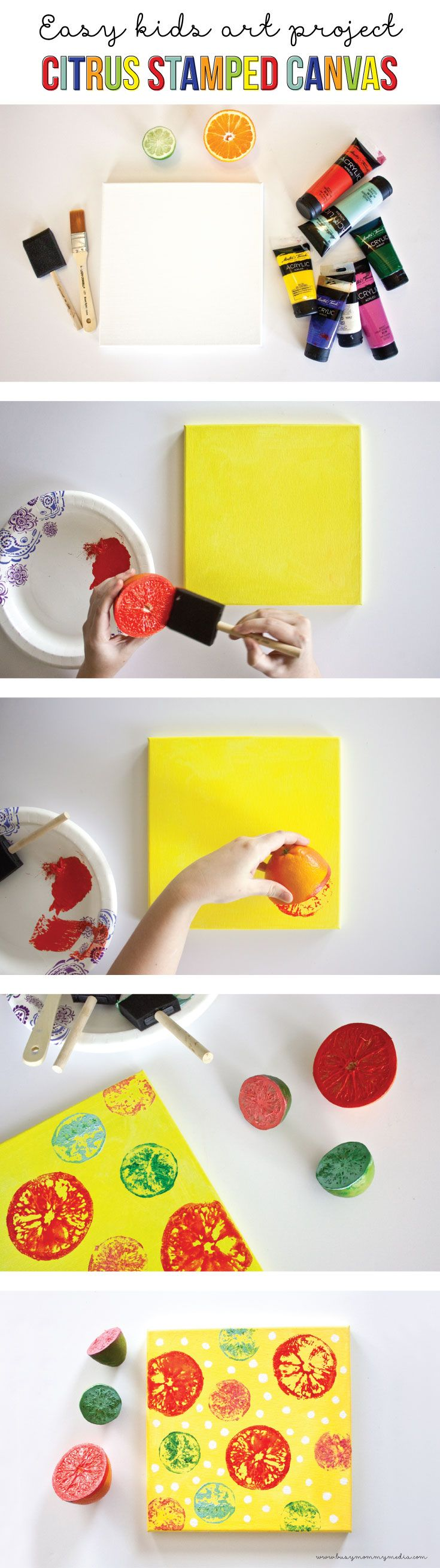 This Citrus Stamped Canvas is such a fun art project for kids and a great way to make some DIY home decor on a budget!