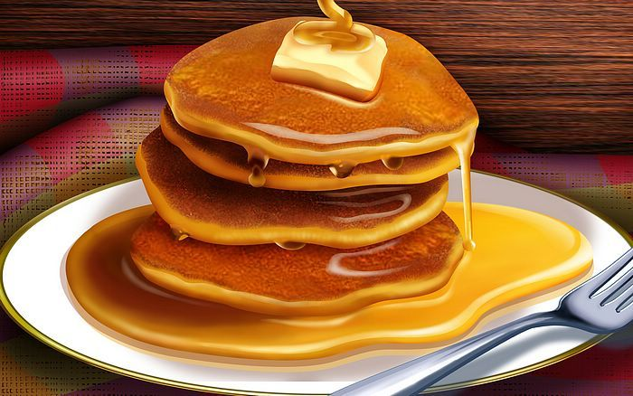 Thanksgiving Food Fusion Art Illustrations  - 1920*1200  Food illustrations  : Pancakes with Butter 2