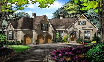 The Bartlett #1372 is now available! This thoughtful Craftsman design is angled with stone, arches, and decorative cupolas. 3322 sq ft and 3 bedrooms. #craftsman #designinprogress #dreamhomeplans