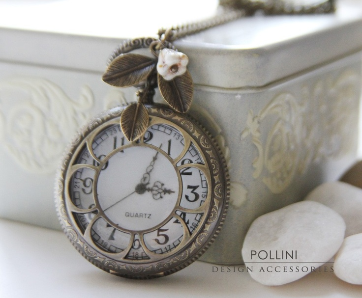 Antique Gold Pocket Watch Necklace Decorated by PolliniAtelier: Necklaces Decor, Pocket Watches, Watches Clocks, Cool Necklaces, Antique Gold, Pockets Watches Necklaces, Antiques Gold, Gold Pockets, Clocks Necklaces