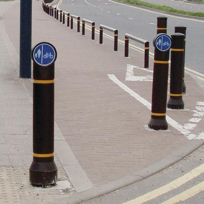 The Mini-Ensign™ bollard is a sign carrying bollard with a wide range of signface options such as cycle routes or directional arrows. Slimline and either passively safe, rebound or rigid options make this bollard ideal for in carriageway cycle lane initiatives. #GlasdonUK #Bollards #Signface #InformationBollard