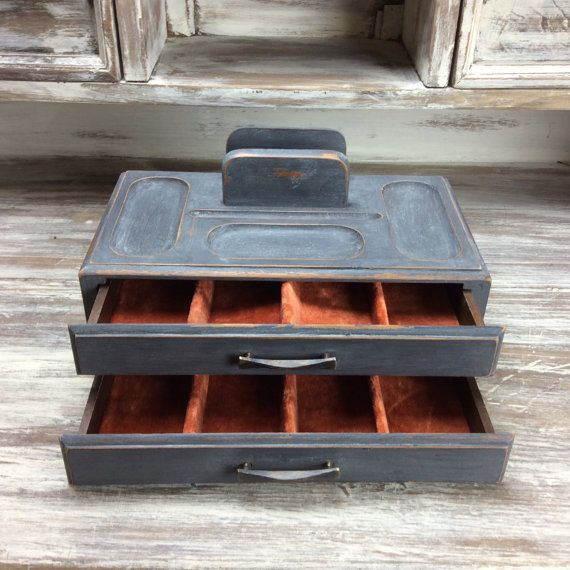 Rustic Gentlemens Tray Vintage Valet Box Mens Trinket Box