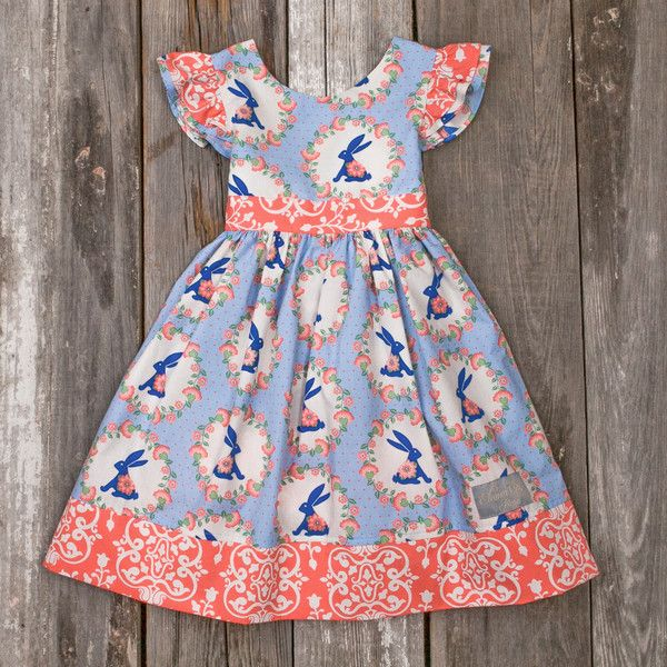 Eleanor Rose BLUE BUNNY PENNY DRESS, Size 4/5
