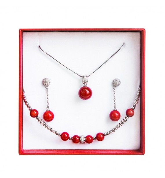Set bijuterii argint rodiat cu cu coral rosu-Tie-Me-Up