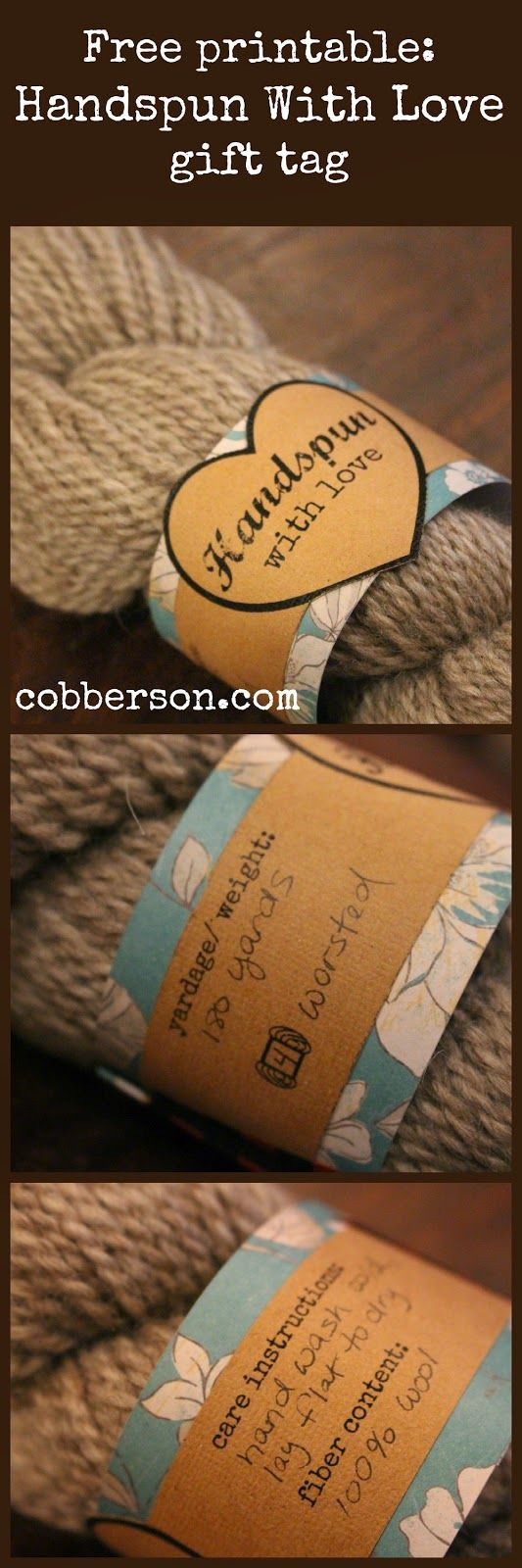 Free printable - Handspun With Love yarn label