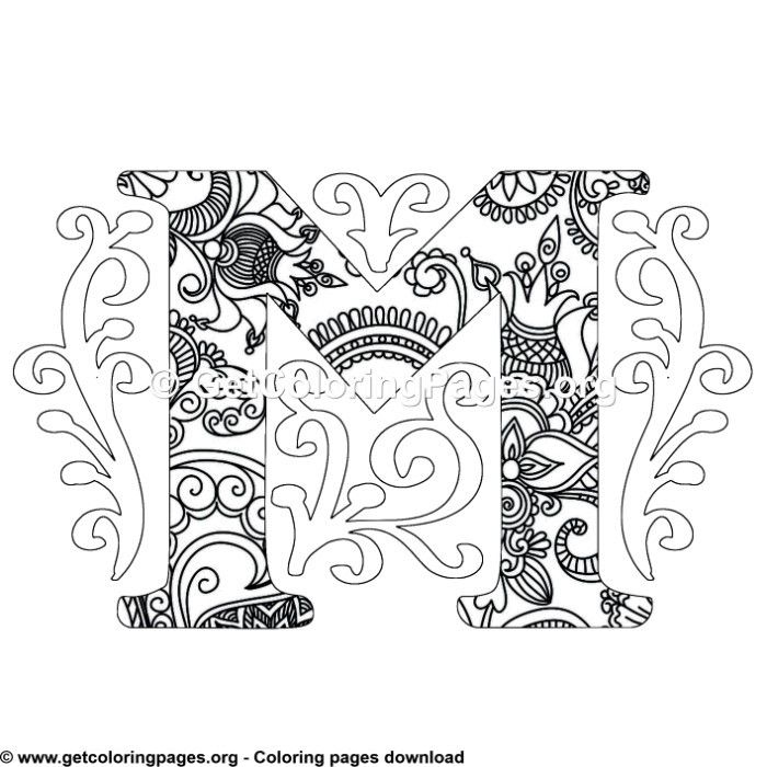Zentangle Monogram Alphabet Letter M Coloring Sheet Owl Coloring Pages Pattern Coloring Pages Unicorn Coloring Pages