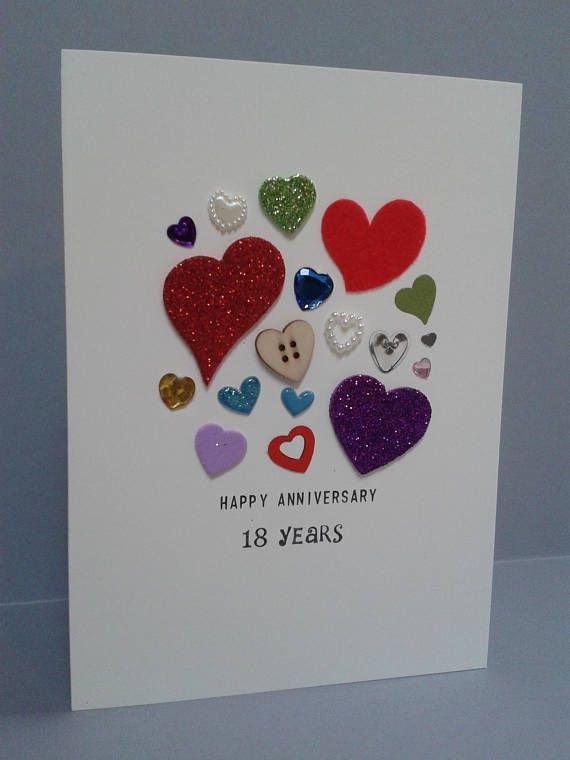 This mixed heart anniversary card features the corresponding number of hearts to years. The hearts are in assorted sizes, colours and materials. (See examples above of 5,7&10 years) Due to the handmade nature of this card each one will be unique it its heart assortment and so will