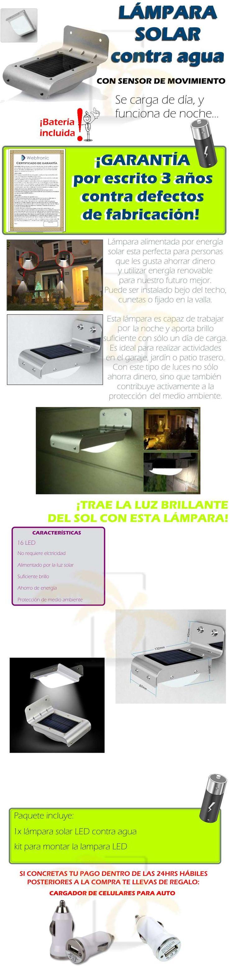 Lámpara Solar 16 Led Exterior Sensor De Luz Y Movimiento - $ 249.00
